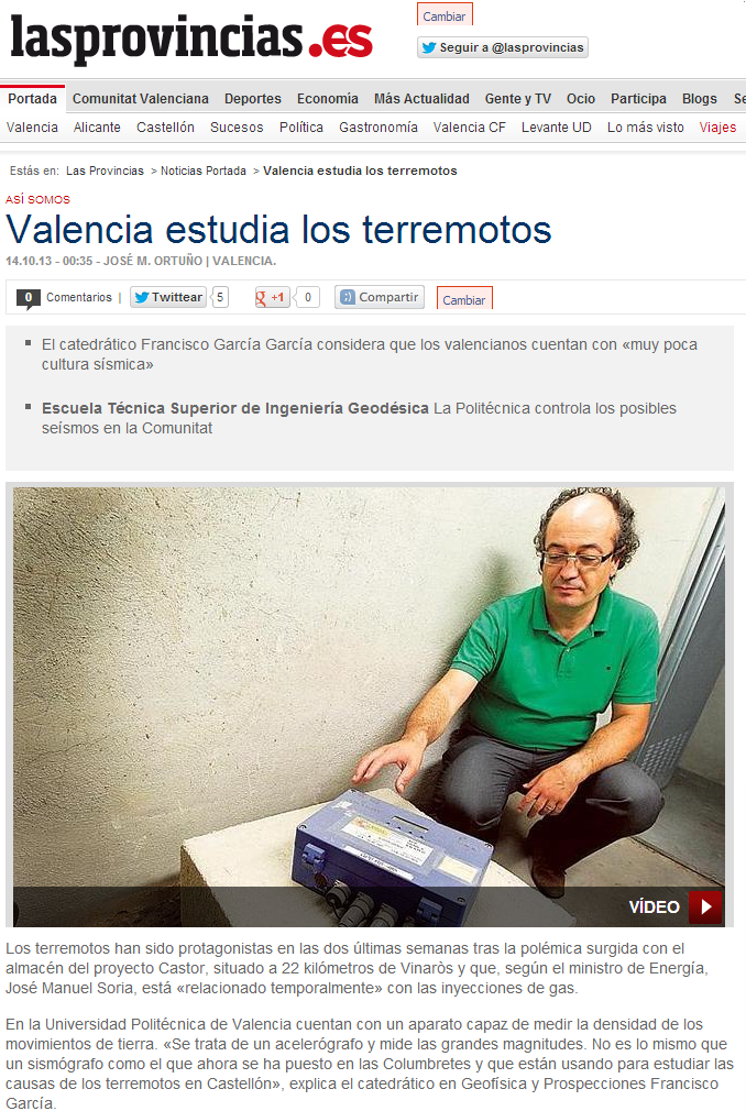 Valencia estudia los terremotos. Las Provincias
